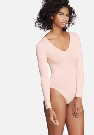 Dailyfriday V-neck Long Sleeve Bodysuit T-Shirts, Vests & Camis Pink