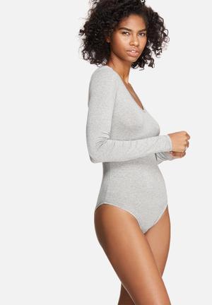 Dailyfriday V-neck Long Sleeve Bodysuit T-Shirts, Vests & Camis Grey