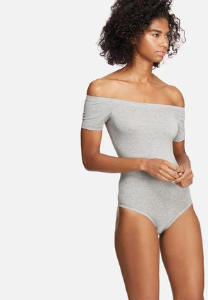 Dailyfriday Off Shoulder Bodysuit T-Shirts, Vests & Camis Grey