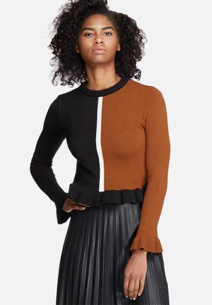 Dailyfriday Colourblocked Knitwear Black, Tan & White