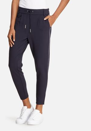ONLY Poptrash Piping Pants Trousers Navy & White