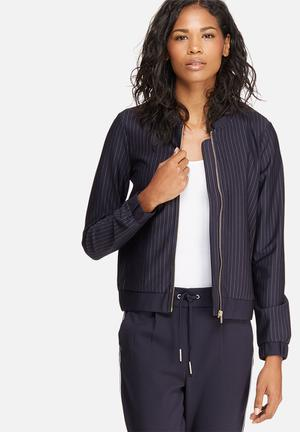 ONLY Penny Stripe Bomber Jacket Navy