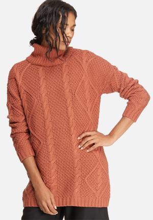 ONLY Falkenberg Long Sweater Knitwear Burnt Orange