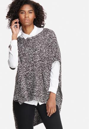 Jacqueline De Yong Atlas High Low Poncho Knitwear White, Black & Grey
