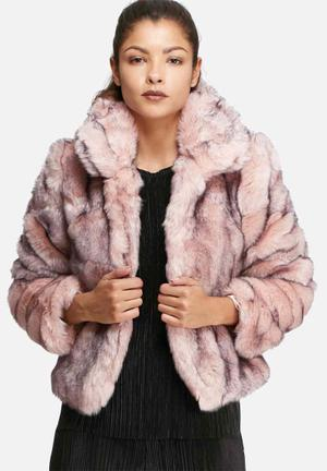 Glamorous Short Faux Fur Coat Jackets Pink & Black