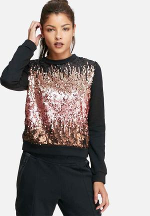 Glamorous Ombre Sequin Top T-Shirts, Vests & Camis Black