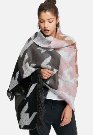 Glamorous Poncho Jackets Black, Grey, Pink & White