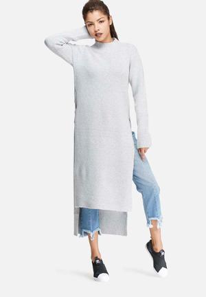 Glamorous High Neck Longline Long Sleeve Knit Casual Grey Melange