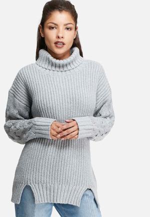 Glamorous Polar Neck Jersey Knitwear Grey Melange