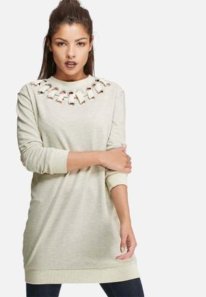 Glamorous Eyelet Detail Longline Top T-Shirts, Vests & Camis Cream Melange