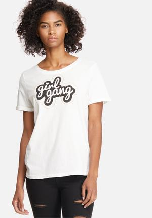Vero Moda Willy Patch Tee T-Shirts, Vests & Camis White, Black & Gold