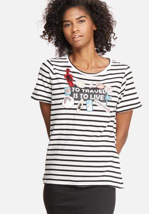 Vero Moda Willy Patch Tee T-Shirts, Vests & Camis White, Black, Red & Blue