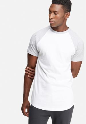 Basicthread Plain Raglan Tee T-Shirts & Vests White & Grey