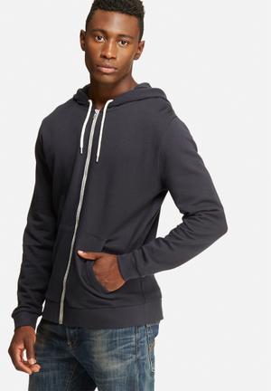 Basicthread Zip Through Hoodie Hoodies & Sweatshirts Navy