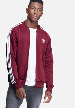 Adidas Originals Superstar Track Top Hoodies & Sweatshirts Burgundy & White