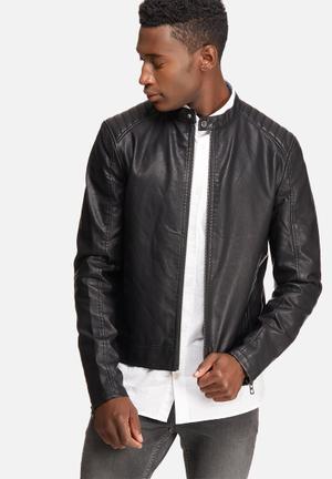 Black on black biker jacket