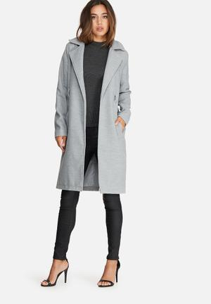 Missguided Belted Tailored Faux Wool Coat Grey