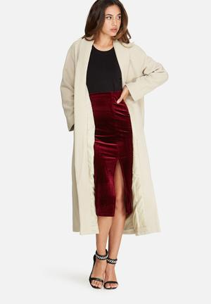 Missguided Shawl Collar Faux Wool Maxi Coat Nude