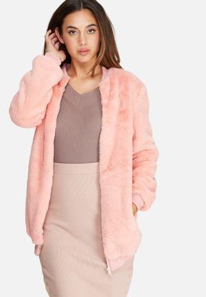 Missguided Longline Faux Fur Bomber Jacket  Pink