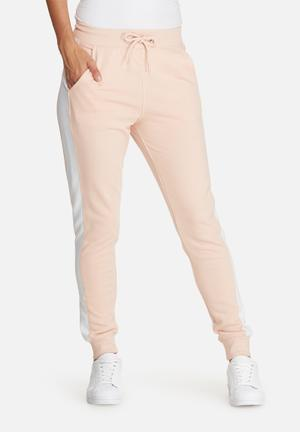 Missguided Striped Contrast Elastic Side Joggers Trousers Pink