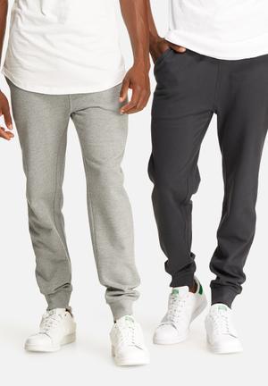 Basicthread 2 Pack Slim Sweat Jogger Sweatpants & Shorts Grey