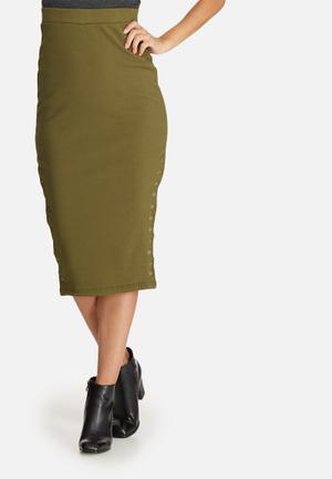 Missguided Double Popper Ribbed Midi Skirt Khaki
