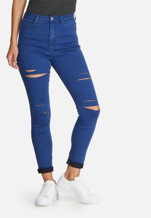 Missguided Rebel High Waisted Thigh Slash Skinny Jeans Blue