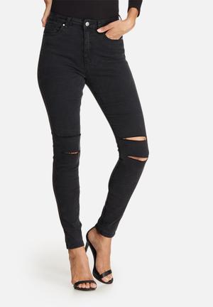 Missguided Sinner Highwaisted Double Slash Skinny Jeans Black