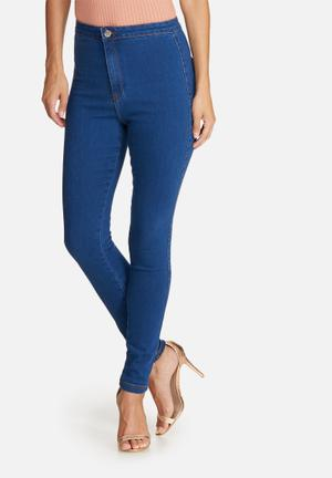 Missguided Vice High Waisted Skinny Jeans Blue