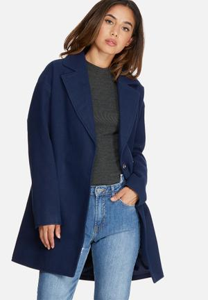 Missguided Drop Shoulder Double Breasted Faux Wool Coat Navy
