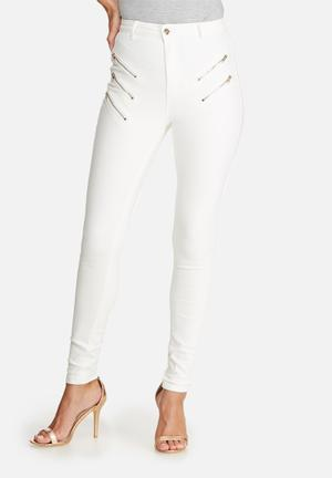 Missguided Vice Multi Zip Thigh Skinny Jeans White