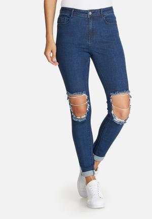Missguided Anarchy Authentic Busted Knee Skinny Jeans Blue