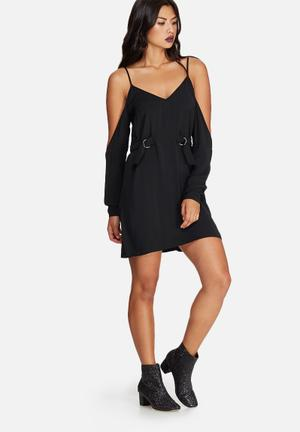 Missguided Cold Shoulder D-ring Side Detail Mini Dress Casual Black