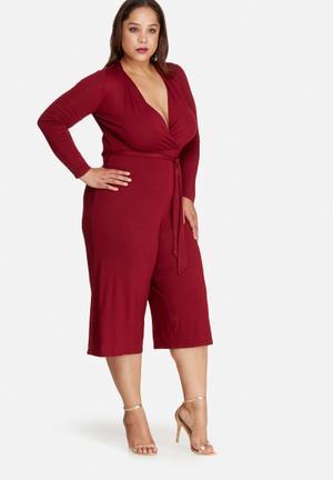 Missguided Plus Size Jersey Wrap Plunge Jumpsuit Dresses Burgundy