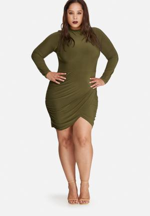 Missguided Plus Size High Neck Slinky Wrap Mini Dress Green
