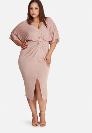 Missguided Plus Size Slinky Kimono Midi Dress Pink