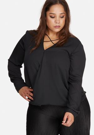 Missguided Plus Size Harness Detail Blouse Tops Black