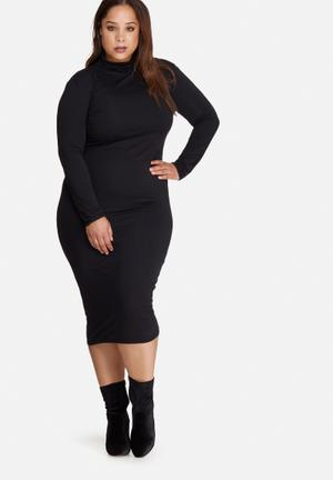 Missguided Plus Size High Neck Jersey Midi Dress Black