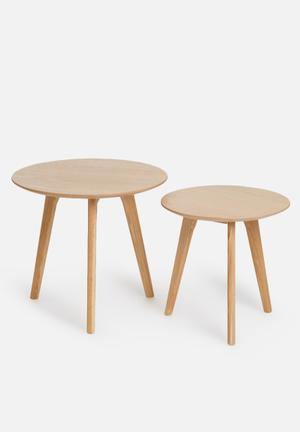 Eleven Past Oak Nesting Tables Wood