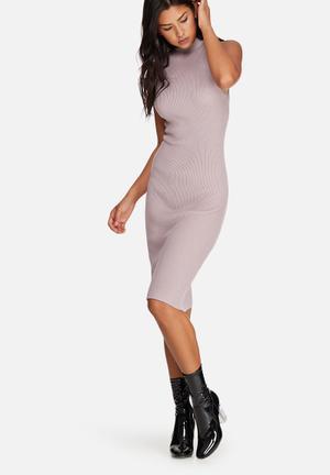 Missguided Basic Sleeveless Round Neck Midi Dress Casual Light Purple