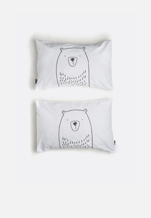 Hello Dolly Bear Pillowcase Set Of 2 Bedding 100% Cotton