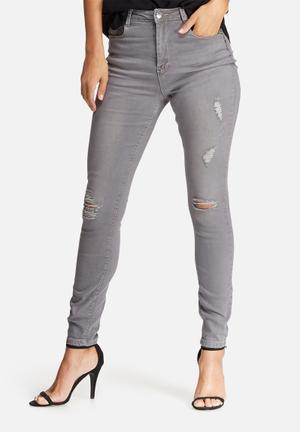 Missguided Sinner Highwaisted Ripped Skinny Jeans Grey