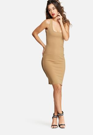 Missguided Zip Side Sleeveless Midi Dress Occasion Camel