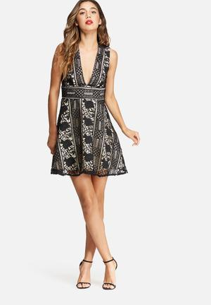 Missguided Lace Plunge Skater Dress Occasion Black