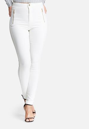 Missguided Vice Highwaisted Zipped Super Stretch Skinny Jeans White