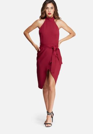 Missguided High Neck Belted Tailored Midi Dress Occasion Burgundy