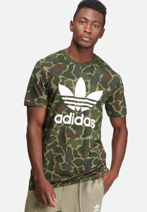 Adidas Originals Trefoil Camo Tee T-Shirts Green, Brown & White