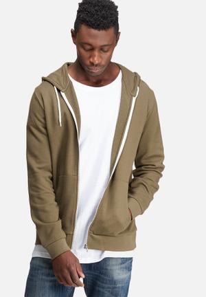 Basicthread Zip Through Hoodie Hoodies & Sweatshirts Brown
