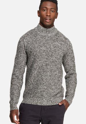 Only & Sons Dwist High Neck Knit Knitwear Khaki, White & Black