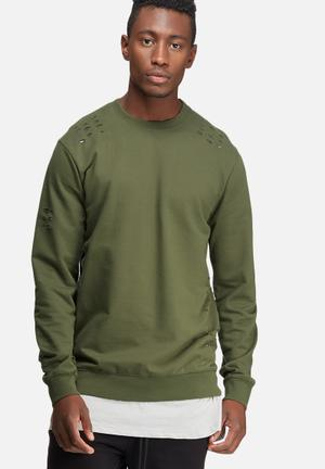 Only & Sons Hole Crew Sweat Hoodies & Sweatshirts Olive